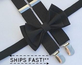 Black Suspenders & Black Bow Tie -- Black Ring Bearer Outfit -- Mens Bow Tie Suspenders