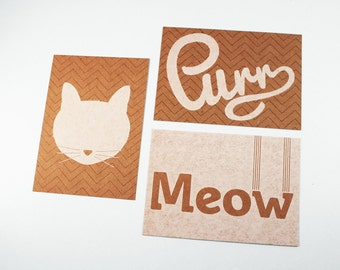 Cat Purr Meow postcard set