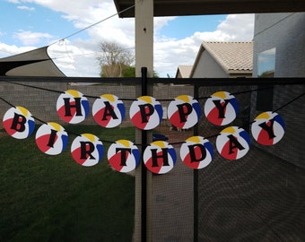 Beach Ball Birthday Banner