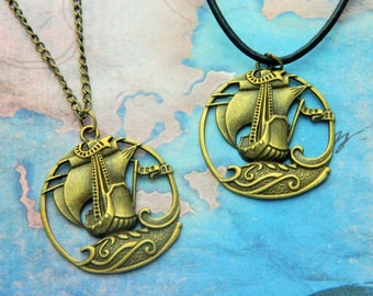 Pirate Ship Necklace, Nautical Jewellery, Boat Necklace, Ocean Jewelry, Statement Necklace, Large Charm Necklace, Bronze Jewellery, Pirates
