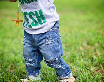 Farm Fresh Bundle- Distressed Skinny Jeans AND Farm Fresh Shirt // Baby Gift // Trendy Baby/Toddler Clothing // Ripped Baby Jeans, Farm Tee