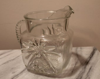 Anchor Hocking Cut Glass Juice Pitcher with Prescut Pattern Vintage 1960s