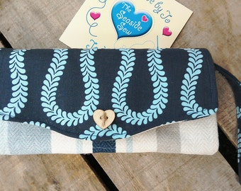 Luxe Clutch Wallet Blue Small Bag with Detachable Wrist Strap