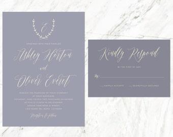 Mauve Wedding Invitation, Vineyard Wedding, Tuscan Invitation, Mauve and Grey, Soft Purple Invitation