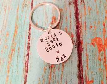 Hand stamped keychain best uncle personalized from niece nephew gift key chain