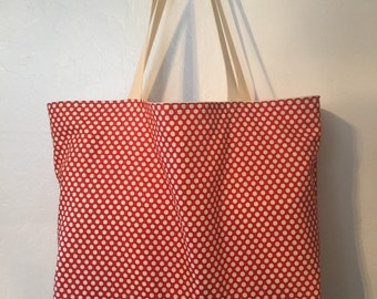 Ex-Large reversible shopping tote, washable canvas shopping bag or beach tote