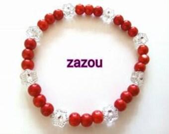 Red bracelet fleurie