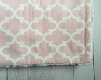 Baby Girl Blanket - Pink and White Blanket - SALE - Minky Plush - Stroller Blanket - Ready to ship - Trendy - Super soft - Baby Girl Bedding