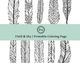 Feather Doodles - Coloring Page