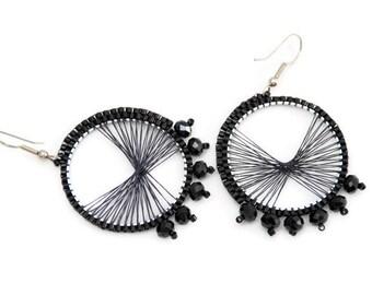 Beaded earring - bohemian earring - bead dangle earring - bead jewelry - statement earring - hoop earring - bohemian jewelry - серёжки бисер