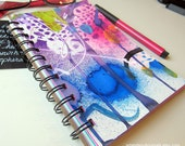 """Whimsical Journal - Paint Drip Journal - Fun Gift - Handpainted 5"""" x 7"""" -   24 pages - Spiral Bound -  Mixed Media Paper"""