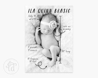 "Scribble 5"" x 7"" Birth Announcement - Digital or Printed"