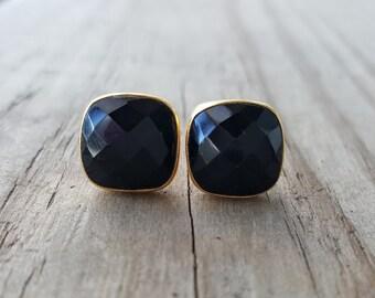 Black Onyx Stud Earrings - Gold Stud Earrings -  Black Studs - Black Onyx Earrings- Square Stud Earrings - Gemstone Studs