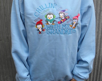 Personalized Penguin Theme Sweatshirt For Grandma - Chillin' With My Grandkids Embroidered Design