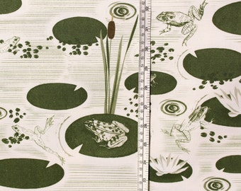 Frog Pond - Fabric- Cotton- Half Panama - Pattern - Patterned Fabric - Frogs - Pond- Lilly-pad- vintage - Charlotte Mudd