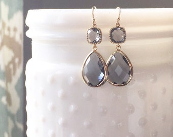 DAISY | Gray Statement Earrings | Gray Bridesmaid Earrings | Gray Dangle Earrings | Gray + Gold Bridesmaid Earrings | Gray Teardrop Earrings