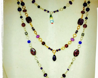 Custom made ultimate fan Prince memorial multi strand necklace