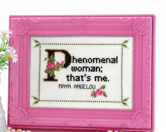 Maya Angelou Quote Easy Cross Stitch Pattern: Phenomenal Woman; That's Me. (Instant PDF Download)