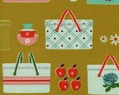 Clearance! 40% Off FQ Picnic Baskets Mustard PICNIC Quilting Cotton Fabric Melody Miller