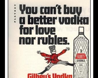"Vintage Print Ad May 1969 : Gilbey's Vodka Advertisement Wall Art Decor Color 5.5"" x 5.5"""