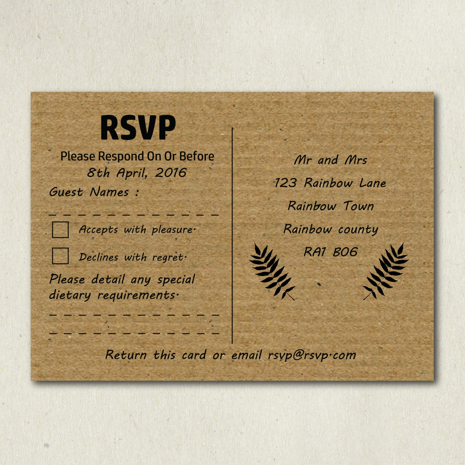 Kraft Rsvp Cards Print Your Own Rsvp Card Shabby Chic