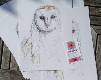 Barn owl original artwork digital print woodland owl wildlife owl art