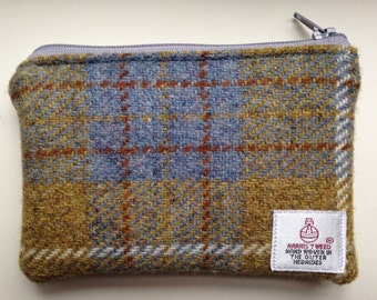 Handmade Harris Tweed lined small makeup bag/zipped pouch  - various gorgeous colours