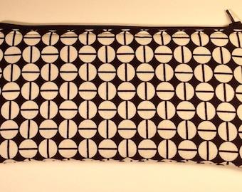 Handmade cotton pencil case / makeup bag - black & cream geometric