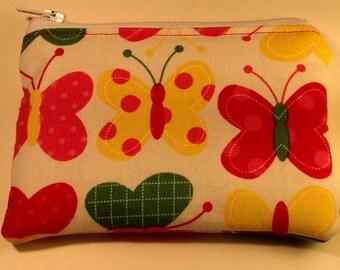Handmade cotton coin purse - bright butterflies