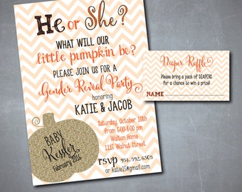 "Fall Gender Reveal Invitation...""Little Pumpkin"" with matching Diaper Raffle Ticket/Digital files or printing/wording can be changed"
