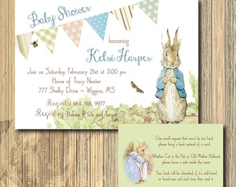 Peter Rabbit Baby Shower Invitation & Book Request Insert printable /vintage, beatrix potter, bunny, digital file,boy/Wording can be changed