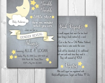 "Gender Reveal Party/Shower Invitation with back included...""Twinkle, Twinkle""/DIGITAL FILE/ printable/ wording can be added or changed"