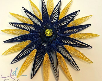 Navy Blue and Yellow Quilled Flower w/ Sequins//Sunburst Flowers//Multi Colored Quilled Flowers//Glittered Flowers//Two Tone Flowers