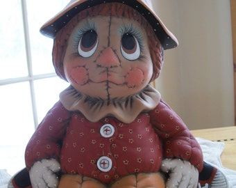 ceramic quilted scarecrow,Halloween,Fall,Autumn decoration