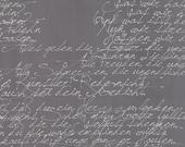 White Cursive Words on Dark Gray Fabric - Modern Background Paper by Zen Chic for Moda - White Graphite - Fabric By the Half Yard