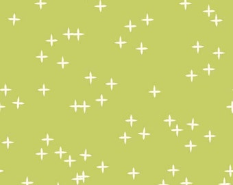 Lime Green with Twinkle Stars Organic Cotton Fabric  - Mod Basics 3 Wink by Birch Fabrics - Grass - Fabric By the Half Yard