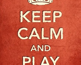 CR2 Vintage Style Shabby Chic Red Keep Calm And Play Hockey Funny Sport Hobby Poster Print Wall Decor A2/A3/A4