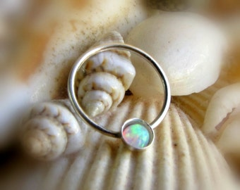 3mm white opal septum ring - opal conch piercing - opal nipple ring