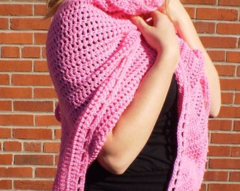 Pink BRUSHED COTTON Handcrafted Multi Purpose Crochet Triangle Shawl