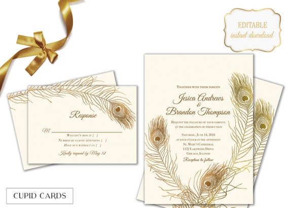 Peacock Feather Wedding Invitation: Peacock Feather Wedding Invitation Templates Editable