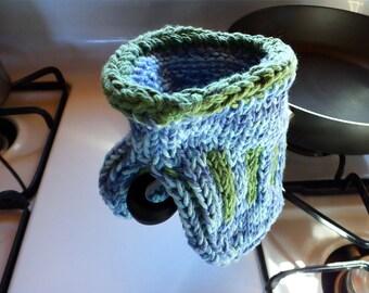 Handmade Knitted Pot Holder, Oven Mitt, All-Natural Cotton, Blue, Green, Kitchen, Cooking, Baking, Serving, Housewarming, MADE TO ORDER