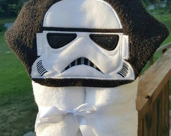 White Trooper Star Hooded Towel with FREE Embroidered Name