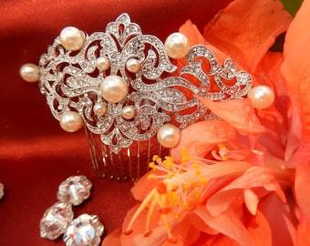 Vintage Inspired Crystal Hair Clip, Crystal Hair Fascinator, Unique Bridal Hair Accessories