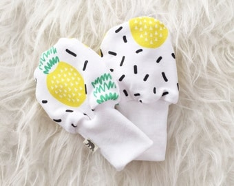 SALE - Baby Scratch Mittens - Pineapple Confetti Sprinkles Black and White - Knit