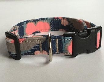 Adjustable Blue and Pink Flower Print Dog Collar