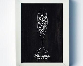 Mimosa | Mixed Drink Art | Mimosa Recipe Print | Home Bar Art | Two Pockets Art and Design