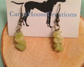 Dainty stone chip earrings