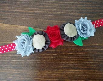 Scarlet and Gray Buckeye Flower Crown Headband