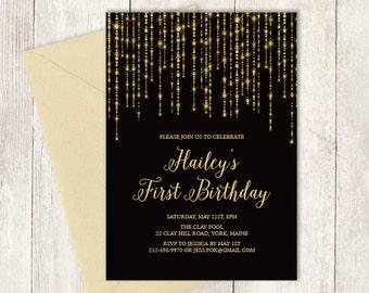 Elegant Birthday Invitation DIY / Great Gatsby Bokeh String Light / Black and Gold Calligraphy / First Birthday ▷ Printable Birthday Invite