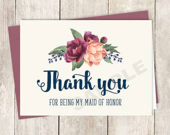 Thank You... Maid of Honor Card DIY Printable / Burgundy Peony Berry Bouquet, Peach Blush Pink Ranunculus, Fall ▷ Instant Download PDF